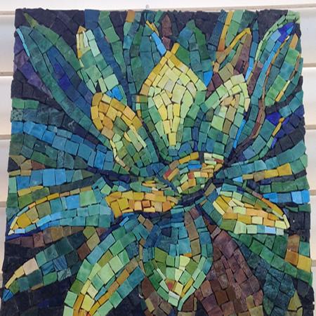 Mural backsplash glassy mosaic fused mosaic glass art for Mural mosaic